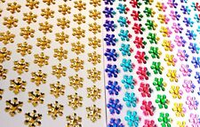 168 Self Adhesive Multi Sticky SNOWFLAKES Acrylic Gem slightly raised Stickers
