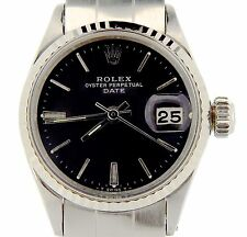 Vintage Rolex Date Ladies Stainless Steel Watch 18K White Gold Bezel Black 6517