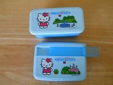 SANRIO HELLO KITTY STACKABLE PLASTIC BLUE STORGE BOX & 1 FLAT LUNCH CONTAINER