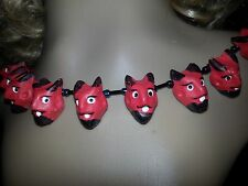 Red Devil Satan Demon Necklace Handmade Clay/Fimo Faces painted bead necklace