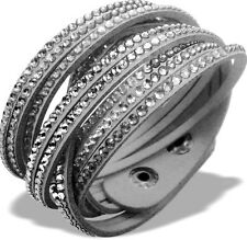 Slake Crystal Wrap Bracelet made w Swarovski Crystal Gray Alcantara ® Leather