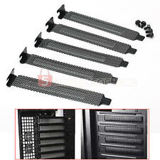 5PC PCI Bracket Slot Cover Dust Filter Black Steel Blank Blanking Plate + Screws