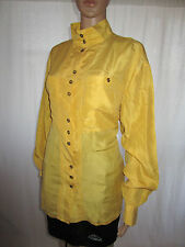 SERGIO DI LAURENTI Womens Vtg 80s Secretary Casual Yellow Silk Shirt sz 18 AE4