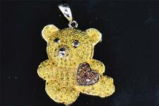 Yellow & Red Diamond Teddy Bear w/ Heart Pendant 10K White Gold Ladies Charm