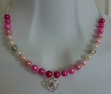 """""Hand Crafted Childrens Pearl Beaded Necklace With Crystal Heart Pendant"""""