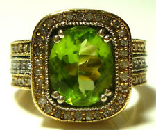 LARGE EFFY 14K YELLOW GOLD OVAL PERIDOT .75CT DIAMOND COCKTAIL RING SIZE 6.75
