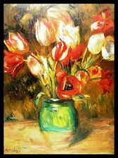 Pierre Auguste Renoir Tulpen in Vase Poster Bild Kunstdruck & Alu Rahmen 60x80cm