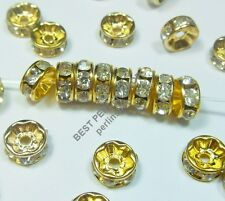 25 METALLPERLEN CRYSTAL STRASS RING METALL SPACER BEADS 6mm GOLD FARBE AZR172C