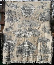 """Bucolic vintage country scenes throw tapestry afghan 56"""" x 68"""" with 2"""" fringe"""