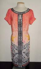 BEIGE BY ECI NEW YORK SZ 14 MULTI-COLOR MULTI-PRINT PLEATED SLEEVE FASHION DRESS