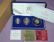 2003 SILVER PROOF PIEDFORT THREE COIN SET - £2, £1 & 50p - Full Packaging