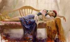 """Pino Giclee on Hand S/# Canvas """"At Rest"""" Beautiful Woman Resting w/ coa 24x40"""