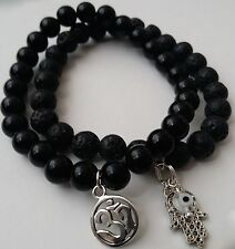 OM Hamsa Evil Eye Bracelet 2pc Stack Black Obsidian & Lava Healing Men Woman