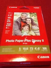 """Genuine Canon Photo Paper Plus Glossy II 4x6"""" 100 Sheets PP-201"""