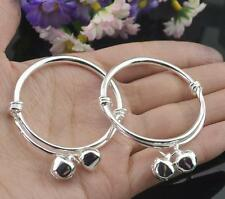 Morden Luck 2pc Silver Baby Kids Bell Bracelet Bangle Birthday Gift
