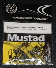 Mustad 77215-08 Barrel Swivel with Safety Snap - Size 8 - 22lb Test Pack of 12