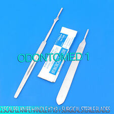 2 SCALPEL KNIFE HANDLES #7 #3 +50 SURGICAL STERILE CARBON STEEL BLADES #10 #11