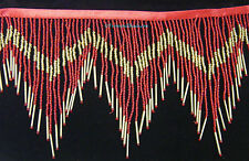 "1 Yard 6.5"" Red & Gold Glass Seed Bugle Beaded Fringe Chevron Lamp Costume Trim"