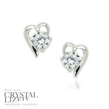HEART SPARKS Swarovski Elements Crystal 18-KRGP White Gold Plated Stud Earrings