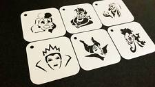 DISNEY PRINCESS VILLAINS Set of 6pcs Stencil Airbrushing Kids Party Decoration