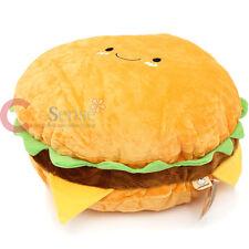"""Large Hamburger Cushion Food Pillow 16"""" Cheeseburger Food Plush Cotton Food"""