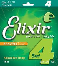 ELIXIR 14502 NANOWEB COATED ACOUSTIC BASS GUITAR STRINGS, LIGHT 4's - 45-100