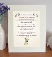 """Whippet 10"""" x 8"""" Free Standing 'Thank You' Poem Fun Novelty Gift FROM THE DOG"""
