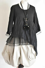 beautiful CHAMPAGNE  black asymmetric LONG PEPLUM  TUNIC TOP SIZE M/L EXCLUSIVE