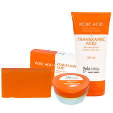 Belo Essentials Kojic & Tranexamic Acid Whitening Set - Body +Face Creams & Soap