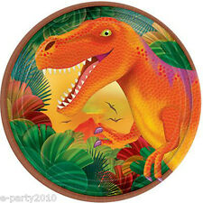 DINOSAUR PREHISTORIC PARTY LARGE PAPER PLATES (8) ~ Birthday Supplies Dinner Boy