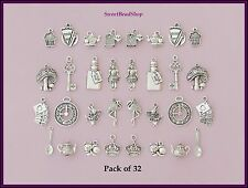32 Antique Silver Colour Mixed JUMBO Pack 'Alice in Wonderland' Style Charms