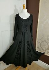 Long Rayon&Velvet Gothic BLACK elasticated back lace up full sleeve 12 14 16 18