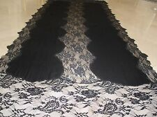 BRETHTAKING $1.5K VALENTINO BLACK 100% CASHMERE AND FRENCH LACE LRG SHAWL WRAP