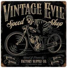 Motorcycle Biker Skull Vintage Evil Metal Sign Man Cave Garage Shop Club FSC010