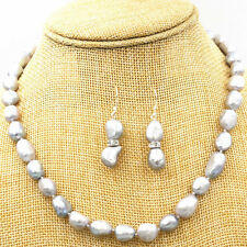 New 8-9MM SILVER GRAY REAL BAROQUE CULTURED PEARL NECKLACE + Earrings 18KGP