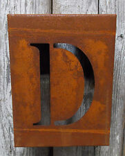 """LETTER """"D"""" RUSTY FINISH 8"""" LASER CUT METAL BLOCK LETTER RUSTIC DECOR RUSTED SIGN"""