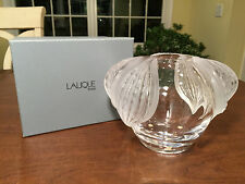 NEW IN BOX Hand-Signed LALIQUE Crystal Art-Glass LARGE VASE/BOWL Frosted Leaves