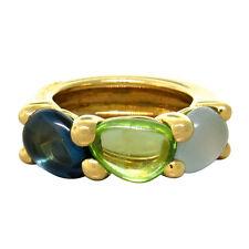New Pomellato Sassi 18k Gold Aquamarine Peridot Topaz Ring $4895