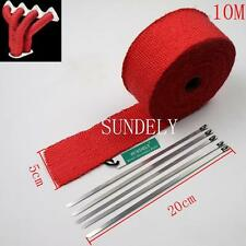 "2"" Red 10Meter Exhaust Header Fiberglass Heat Wrap Tape+5 Ties Kit"
