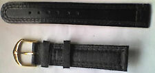 "Gents 18mm Black ""Leather"" Watch Strap / Band - Gold Coloured Buckle - NEW"