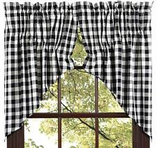 "(1) Pair Buffalo Black & White Check Cotton Lined Window Prairie Swags 72""Wx36""L"