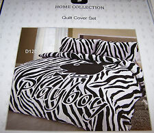 Playboy Bunny Logo Black White Zebra Printed Queen Bed Quilt Cover Set New