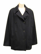 CALVIN KLEIN Black Wool Blend Peacoat Coat Jacket Double Breasted Women Size M