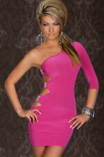 Pink One Sleeve Side Cut Out Cocktail Mini Dress Silver Accents 2551