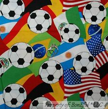 BonEful Fabric Cotton Quilt VTG USA Soccer Football American Flag Country SCRAP