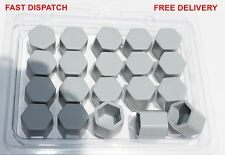 20 x Silicone Wheel Screws Nuts Caps Bolts Covers 17mm GREY AUDI A4 A3 A6 A3...