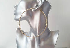 Sexy! HUGE - Gold tone twisted style BIG hoop earrings, 10.5cm MASSIVE HOOPS!