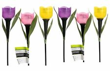 Set Of 6 Tulip Path Way Solar Power LED Landscape Light Flower Lamp Lights