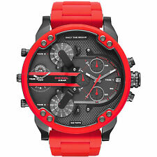 MENS DlESEL RED DZ7370 MR BIG DADDY 2.0 Multiple Time Chronograph Watch(no box)