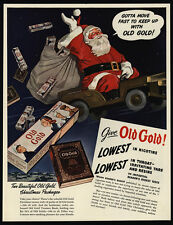 1942 SANTA CLAUS In WWII Army Jeep Selling OLD GOLD Cigarettes VINTAGE AD